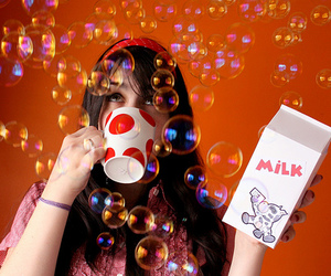 milk, girl, and bubbles image