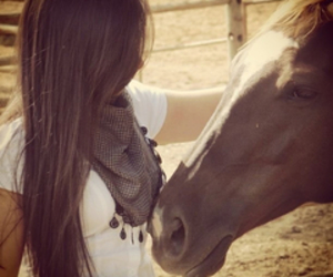 girl, horse, and brunette image