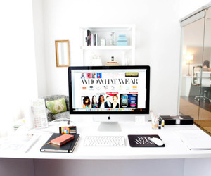 office, white, and apple image