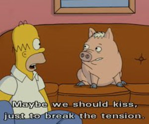 homer, kiss, and pig image