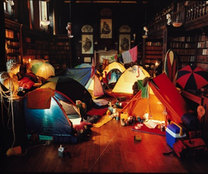 tent, camping, and library image