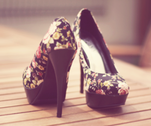 floral, high heels, and shoes image