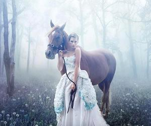 horse, girl, and dress image
