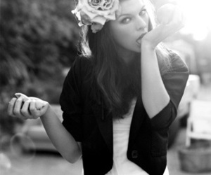Milla Jovovich and black and white image