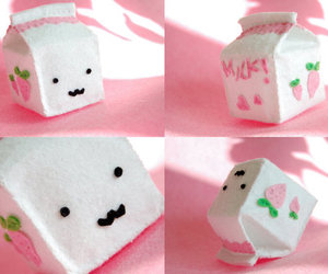 milk, pink, and cute image