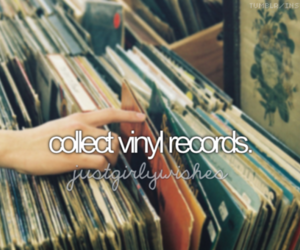 girl, records, and vinyl image
