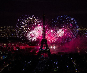 beautiful, eiffel, and firework image