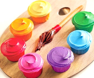 cupcake, paint, and colors image