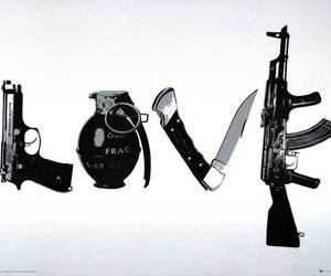 love, gun, and knife image