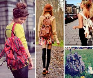 bags, style, and backpakcs image