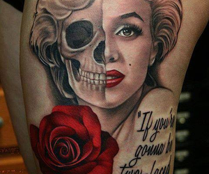 tattoo, rose, and Marilyn Monroe image
