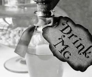 alice in wonderland, black and white, and drink me image