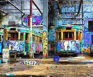 graffitti, mess, and trams image