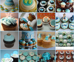 baby boy, blue, and cupcakes image