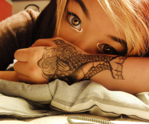 eyes, girl, and tattoo image