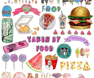 food, pizza, and starbucks image