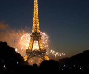 paris, fireworks, and eiffel tower image