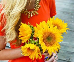 fashion, flowers, and sunflower image