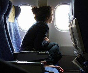 girl, travel, and airplane image