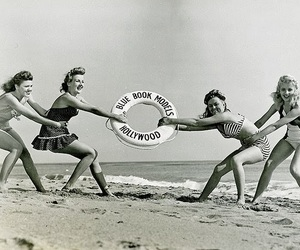 black and white, beach, and girls image