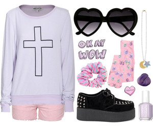 creepers, heart shaped sunglasses, and pink shorts image