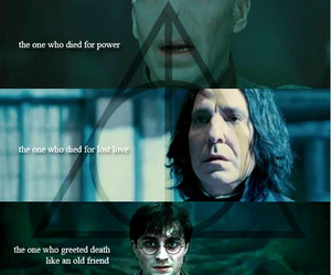 deathly hallows, harry potter, and voldemort image