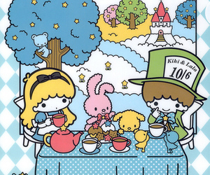 alice in wonderland, sanrio, and tea party image