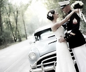 military, wedding, and love image