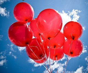sky, balloons, and red image