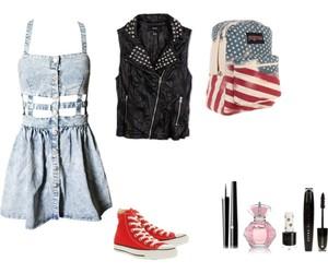 backpack, denim, and fashion image