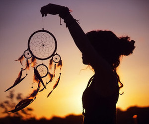 girl, Dream, and sunset image