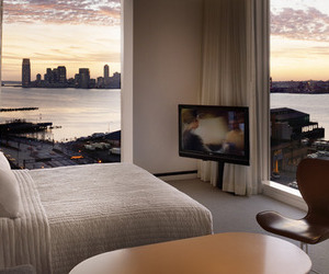bedroom, city, and luxury image