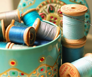 blue, thread, and sewing image