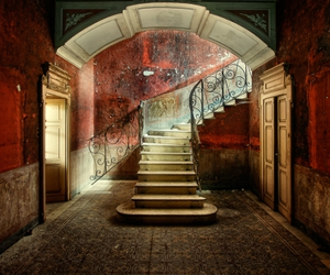 stairs, red, and house image