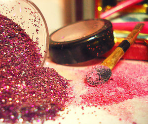 pink, glitter, and makeup image