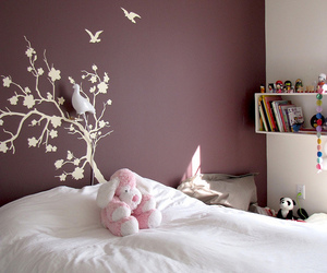 bed, decor, and purple image