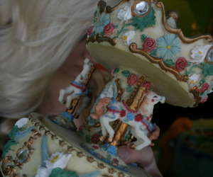 blonde, cute, and carousel image