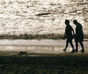beach, couple, and light image