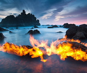 fire, water, and photography image