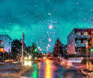 colors, landscape, and rain image