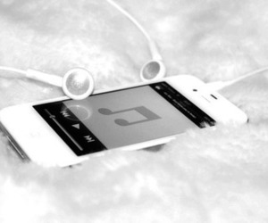 black and white, earphones, and photography image
