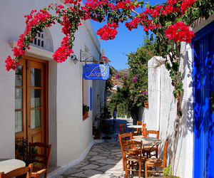 flowers, Greece, and blue image