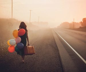 balloons, girl, and travel image