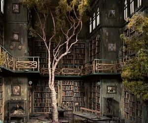 books, library, and tree image