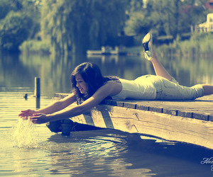 girl, pretty, and water image