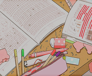 anime, study, and book image