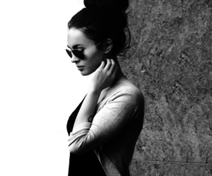 megan fox, black and white, and hair image