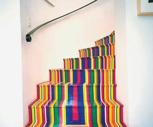 stairs, colors, and rainbow image