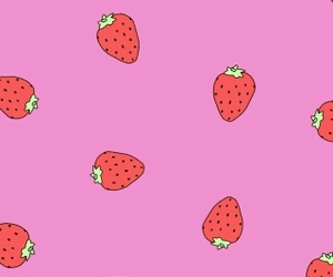 pink, strawberry, and wallpapers image