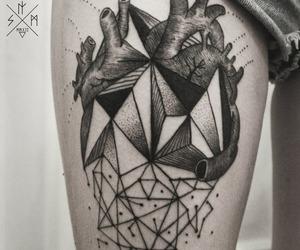tattoo, heart, and geometric image
